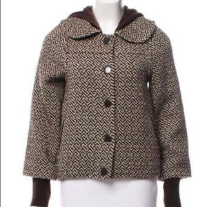 ALICE+OLIVIA wool hooded brown jacket,XS!!RARE